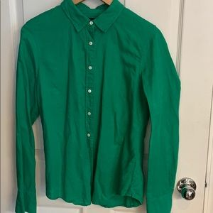 J Crew perfect fit Kelly green button down size 10